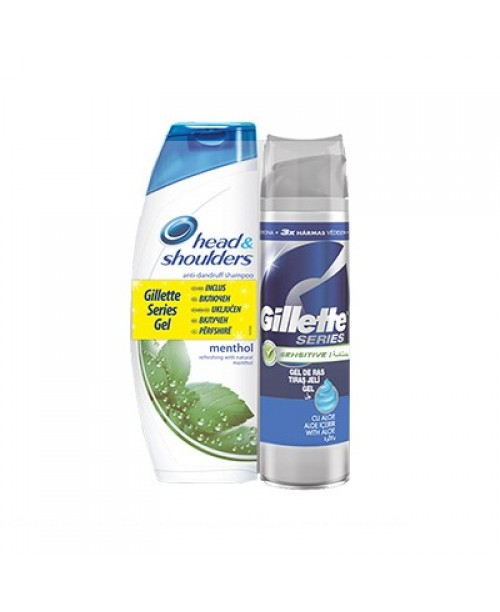 Sampon Head&Shoulders Menthol 750ml+Gel de ras Gillette Series Sensitive 200ml