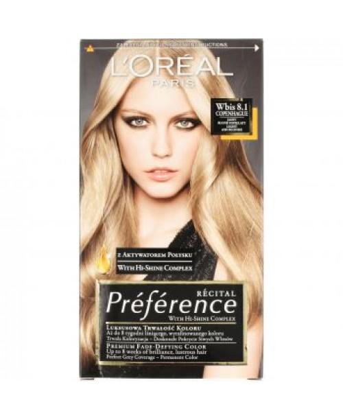 Vopsea de par L'Oreal Preference 8.1 blond deschis cenusiu Copenhaga