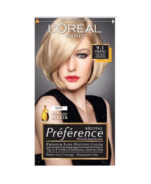 Vopsea de par L'Oreal Preference 9.1 blond cenusiu foarte deschis