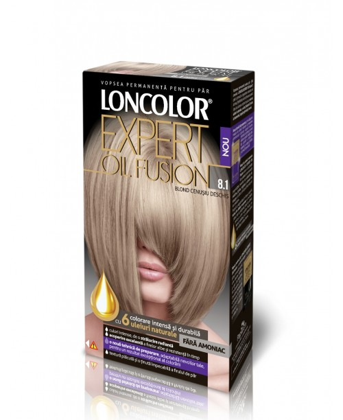 Vopsea de par Loncolor Oil Fusion 8.1 blond cenusiu deschis