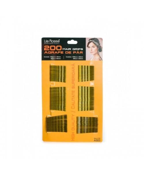 Agrafe de par 200 bucati, blonde, 4.5 cm/6.5 cm