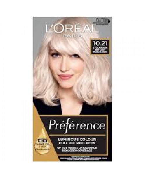 Vopsea de par L'Oreal Preference 10.21 Blond Stockholm