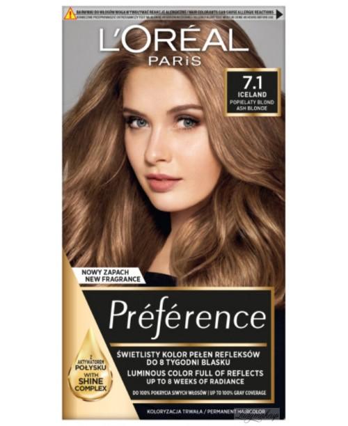 Vopsea de par L'Oreal Preference 7.1 Blond Cenusiu Iceland